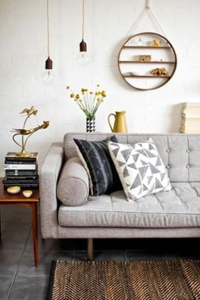 Homemyhome décoration intérieure : ambiance design scandinave canapé gris pastel